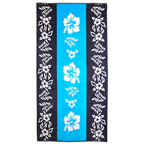 "Superior Luxurious 100% Cotton Beach Towels, Oversized 34"" x 64"", Soft Velour Cotton and Absorbent Cotton Terry, Thick and Plush Floral Beach Towels - Hibiscus"