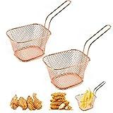 Gsyamh Cestino Fritto Quadrato Acciaio Inossidabile Mini Chips Cestini Friggere Alimenti Cestello per Friggitrice in Acciaio Adatto Cucina Fritta del Ristorante della Cucina Domestica Rendere-2 pezzi
