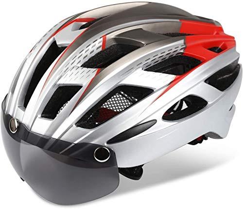 DHSQ Casco de bicicleta, certificado Cpsc&Ce, casco de ciclismo y escalada Bc-069 con gafas magnéticas desmontables y luz trasera LED y mochila portátil ajustable para hombres y mujeres de montaña