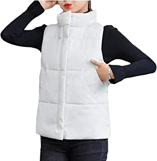 Women Vest Stand Collar Quilted Outdoor Jackets Zip up Sleeveless Coats