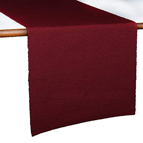 Runner da tavola in lino rosso - tovaglia da pranzo in poli cotone con decorazioni rustiche per...