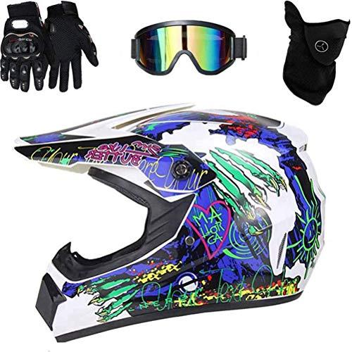NANUNU Casco de Motocross Motocross Bici de la Suciedad del Camino Casco de la Moto de la Cara Llena Conjunto MTB Casco con Guantes Gafas