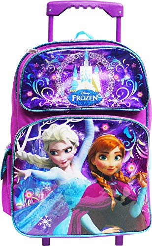 Frozen Elsa Anna Oalf 16 inches Large Rolling Backpack
