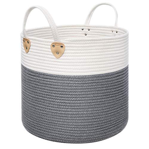 SONGMICS Baumwollseilkorb, Griffen, Wäschekorb aus Baumwolle, 50 L, für Spielzeug, Kleidung, Decken, Grau-Beige, 40 x 40 x 35 cm