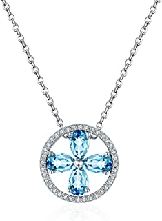 Necklace Jewelry Natural Crystal Topaz Clover Item Pendant Ladies Jewelry Gifts Necklaces For Women Girls Chain With S925 ...