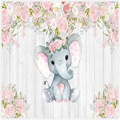 Allenjoy 7x5ft Rustic Floral Elephant Backdrop for Baby Shower Party Pink Flower Wood It's a Girl Banner Birthday Photography Background Cake Table Decoration Photo Booth Studio Props Favors Supplies