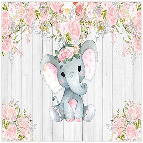 Allenjoy 8x8ft Rustic Floral Elephant Backdrop for Baby Shower Party Pink Flower Wood It's a Girl Banner Birthday Photography Background Cake Table Decoration Photo Booth Studio Props Favors Supplies
