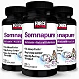 Force Factor Somnapure Drug-Free Sleep Aid for Adults with Melatonin Valerian Root and Lemon Balm/Non Habit Forming Sleeping Pills to Fall Asleep Faster Wake Up Refreshed Tablets, White, 180 Count