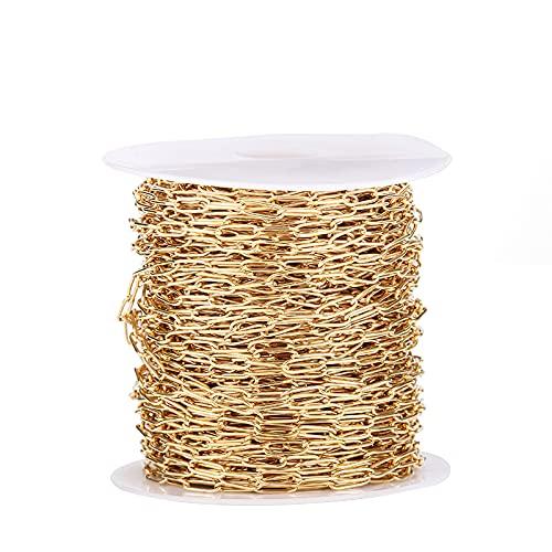 LTXDJ Cadena cruzada decorativa de bricolaje, cadena cruzada dorada de acero inoxidable de 1 metro, adecuada para collares con bisagras con cuentas, pulsera, accesorios para hacer joyas