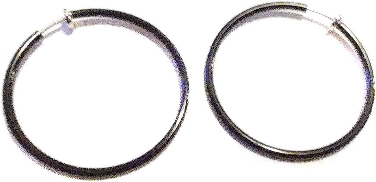 Clip-on Earrings 1.5 inch Hoop Thin Black Hoop Earrings