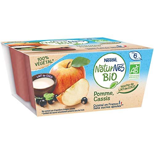 NESTLE Bébé NATURNES BIO Pomme Cassis Lait de Coco - 4x 90g - dès 6 mois