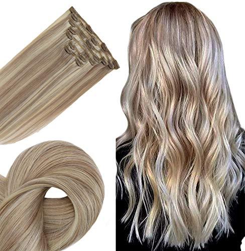 Easyouth Haar Verlängerung Clip 14 Zoll 70g 7 Stück Pro Paket Farbe 18 Ash Blonde Fading Zu 613 Gelbe Blonde Clip Hair Extensions Clip in Extensions Set