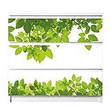 banjado Möbelfolie passend für IKEA Malm Kommode 3 Schubladen   Möbel-Sticker selbstklebend   Aufkleber Tattoo perfekt für Wohnzimmer und Kinderzimmer   Klebefolie Motiv Rahmen Blätter