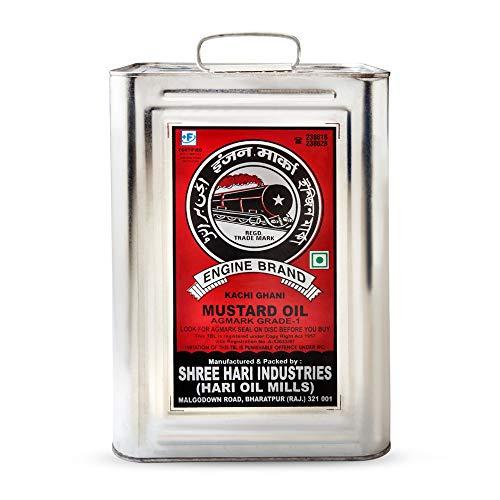 Engine Brand Kachi Ghani Agmark Grade - 1 Mustard Oil - 15 Liter Tin Pack