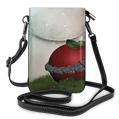 Women Mini Purse Crossbody of Cell Phone,Fictional House In A Magical Garden with A Big Red Apple Fresh Grasss and Full Moon