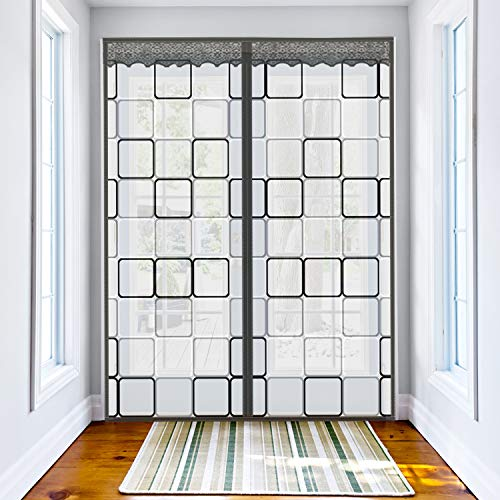 Insulated Door Curtain for French & Patio Sliding Doors Up to 72 x 80 Inch, Thermal Magnetic Closure Self-Closing Door Cover Cool Summer Warm Winter Draft Insulation Door Screen (Grey - Checks Style)