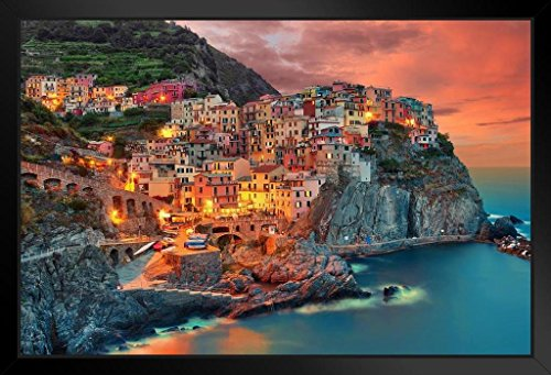 Cinque Terre Manarola Italy Cliff Homes Landscape Photo Black Wood Framed Art Poster 20x14