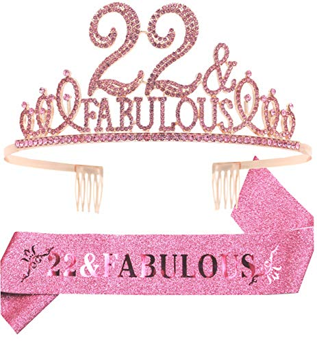 22nd Birthday Gifts for Women,22nd Birthday Tiara and Sash Pink,22nd Birthday Decorations Party Supplies,It's My 22nd Birthday Satin Sash Crystal Tiara Birthday Crown for 22nd Birthday Party Decor