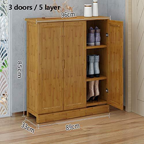 Zapatero de bambú, 100% natural y renovable, muy pesado y duradero zapatero de madera, estante multifuncional de almacenamiento adecuado para pasillo, sala de estar, dormitorio, tamaño opcional/capa zapato Ra, Armario de avión, C