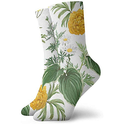 Kevin-Shop gele pioenen madeliefjes vele soorten planten kamille natuur mode sokken zacht Warmer kousen 1 paar