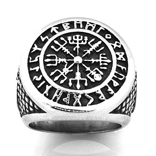 Dizie - Anillo nórdico vikingo con símbolo de moda y pulsera de acero titanio para hombre, estilo nórdico 19mm