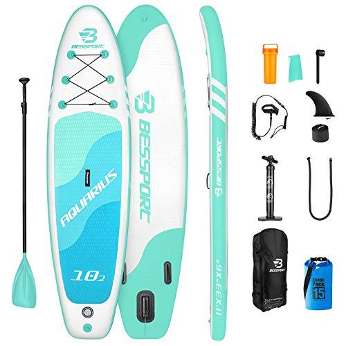Bessport Tabla Paddle Surf Hinchable, Stand-up Paddle Surf de Sup, 335x82x15cm, Carga hasta 150kg, para Principiantes, jóvenes y Adultos