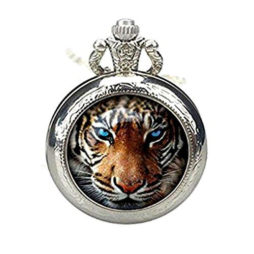 Reloj de Bolsillo con diseño de Tigre, Colgante de Tigre, joyería de Collar, Colgante de Regalo para Hombres y Mujeres