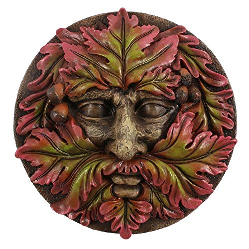 Tree Face Garden Sculpture Wall Plaque, Round Green Man of the Woods, for indoor - outdoor use Great Gift Idea