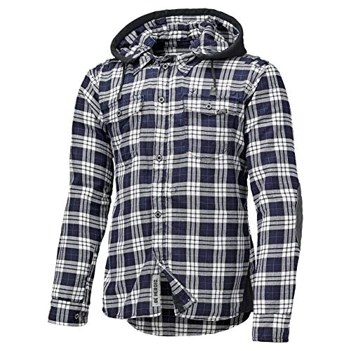 Held Lumberjack Flanellhemd, Hemd mit Protektoren - Blau-Weiß (L)