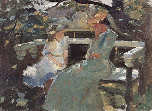 Het Museum Outlet - Op de tuinbank, en Anna Hekga Thorup door Anna Ancher, Stretched Canvas Gallery verpakt. 16 x 20 cm.