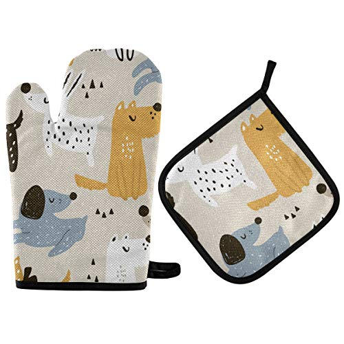 RURUTONG Oven Mitt and Pot Holder Dog with Cotton Soft Lining for Cooking BBQ Grilling 10.6 x 6.7in 2010192