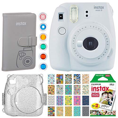 Fujifilm Instax Mini 9 Instant Camera(Smokey White) + Fujifilm Instax Mini Instant Film (20 Shots) + Glitter Hard Case + Fujifilm Wallet Album + Colored Lens Filters + 20 Sticker Frames Travel Package