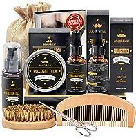 【GRANDE VALEUR】: Le kit comprend shampooing barbe, 40g baume a barbe et 2*30ml huile barbe, ainsi que le peigne à barbe, la brosse à cheveux de sanglier et des ciseaux en acier inoxydable tranchants,Barbe Shaper.2*30ml d'huile à barbe sont inclus dan...