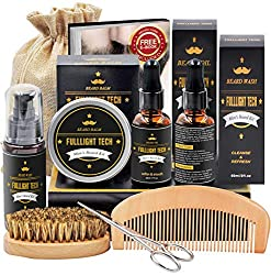 A variety of beard grooming supplies that is the perfect gift for the man who is impossible to shop for.