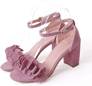 Women's Chunky Block Heel Sandals Open Toe Ankle Strap Buckle Suede Casual Comfortable Sandal Pump