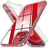 KEEPXYZ Funda para iPhone 12 iPhone 12 Pro + 2 Pcs Protector de Pantalla para iPhone 12 12 Pro Cristal Templado, Flexible Silicona Transparente TPU Carcasa + Vidrio Templado para iPhone 12/12 Pro