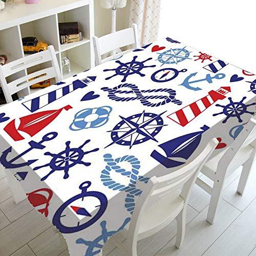XXDD Ancla náutica Azul Marino Rayas Blancas decoración del hogar Mantel Marino océano Mantel Cuadrado Rectangular A1 140x160cm