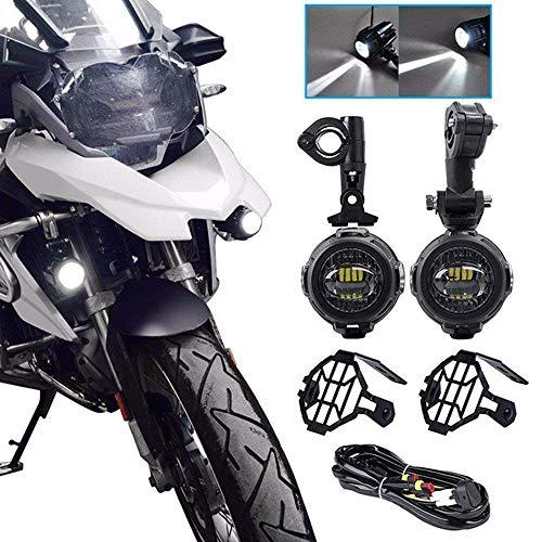KKmoon 2pcs LED Faro de Motocicleta Luz Auxiliar Moto Protec