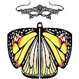 Andouy Damen Schmetterlingsflügel Schal mit Maske Nymphe Pixie Flügel Poncho