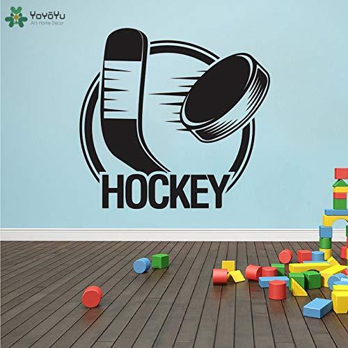 yaoxingfu Wandtattoo Hockey Wandaufkleber Sport Quote Team Game Hockeyschläger Ball Mädchen Jungen Schlafzimmer 40 Farben Erhältlich weiß 42x44cm