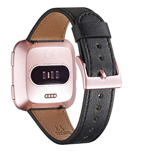 WFEAGL für Fitbit Versa Armband,Top Grain Lederband Ersatzband mit Edelstahl-Verschluss für Fitbit Versa/Versa 2 /Versa Lite/Versa SE Fitness Smart Watch(Schwarz+Roségold Schnalle)