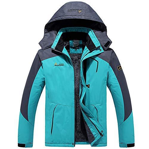 Men's Waterproof Ski Jacket Winter Warm Snow Coat Windproof Mountain Raincoat Snowboarding Hooded Jackets(Light Blue,M)