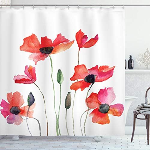 Ambesonne Watercolor Flower Decor Collection, Poppies Wildflowers Nature Painting Watercolor Effect, Polyester Fabric Bathroom Shower Curtain Set with Hooks, 75 Inches Long, Orange Red Black Olive