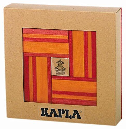 KAPLA 9000106 Holzplättchen 40er Box, rot und 20 orange + Buch