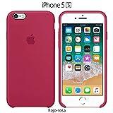 Funda Silicona para iPhone 5, 5s, SE Silicone Case, Logo Manzana, Textura Suave, Forro Microfibra (Rojo-Rosa)
