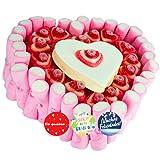 Tarta de chuches con forma de corazón 23 cm + Etiquetas para Regalo - Regalos originales para novias, cumpleaños, bodas y comuniones. Tarta de corazones y chuches variadas.