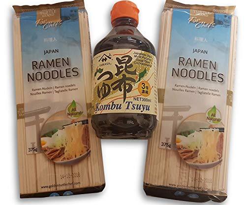2 x japanische Ramen-Nudeln, Udon Nudeln, Soba, Kombu Tsuyu Sauce Konzentrat Soße Zutaten Grundzutaten