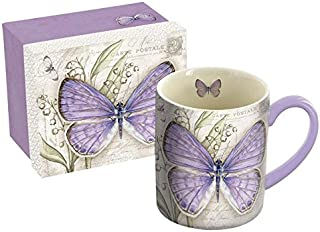 """LANG - 14 oz. Ceramic Coffee Mug - """"Lavender Butterfly"""", by Jane Shasky - Lilly of the Valley"""