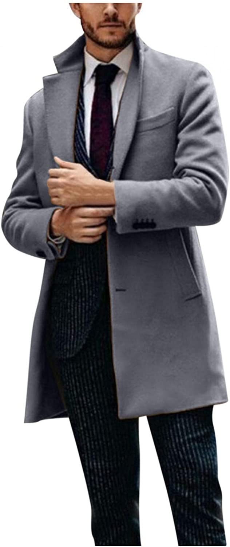 WUAI-Men Double Breasted Woolen Pea Coat Winter Warm Notched Collar Slim Fit Overcoat Trench Coat Windbreaker