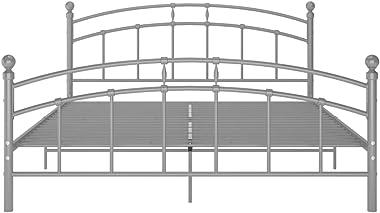 FAMIROSA Cadre de Lit Gris Métal 140x200 cm